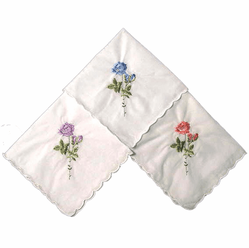 Stunning Rose Embroidered White Ladies Handkerchief