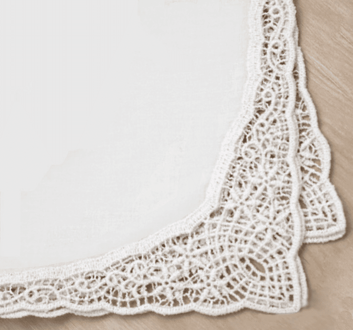 Stunning Spring Flowers White Lace Bordered 100% Cotton Ladies' Handkerchief