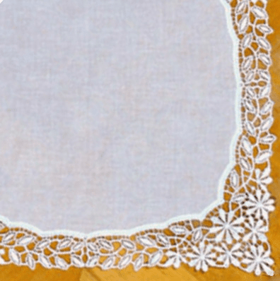 Stunning White Daisy German Plauen Lace Ladies Handkerchief