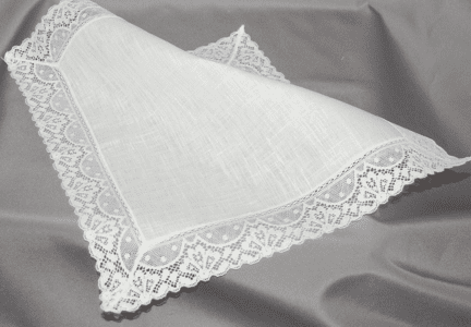 Stunning White Linen Cathedral Lace Wedding Handkerchief