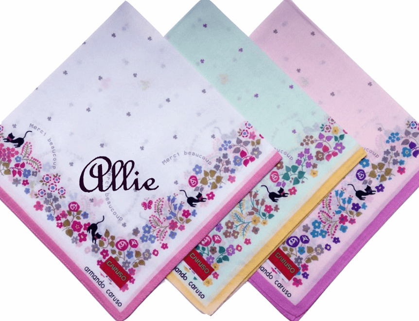 Stunningly Beautiful Printed 100% High Grade Cotton Kitties & Flowers Handkerchief Armando Caruso