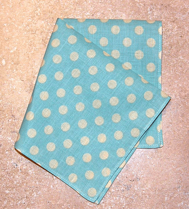 Super Cute Polka-Dotted 100% Cotton Ladies Handkerchief  Light Aqua Blue
