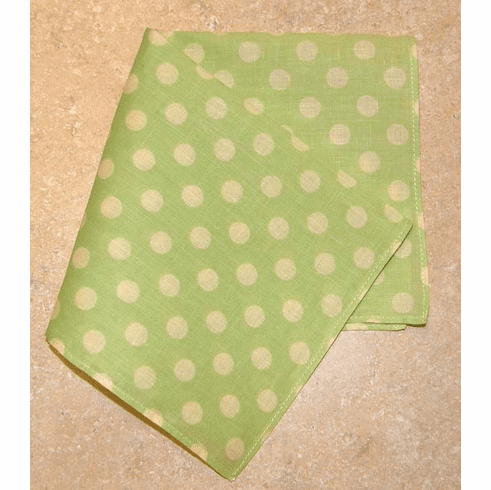 Super Cute Polka-Dotted 100% Cotton Ladies Handkerchief  Light Lime Green
