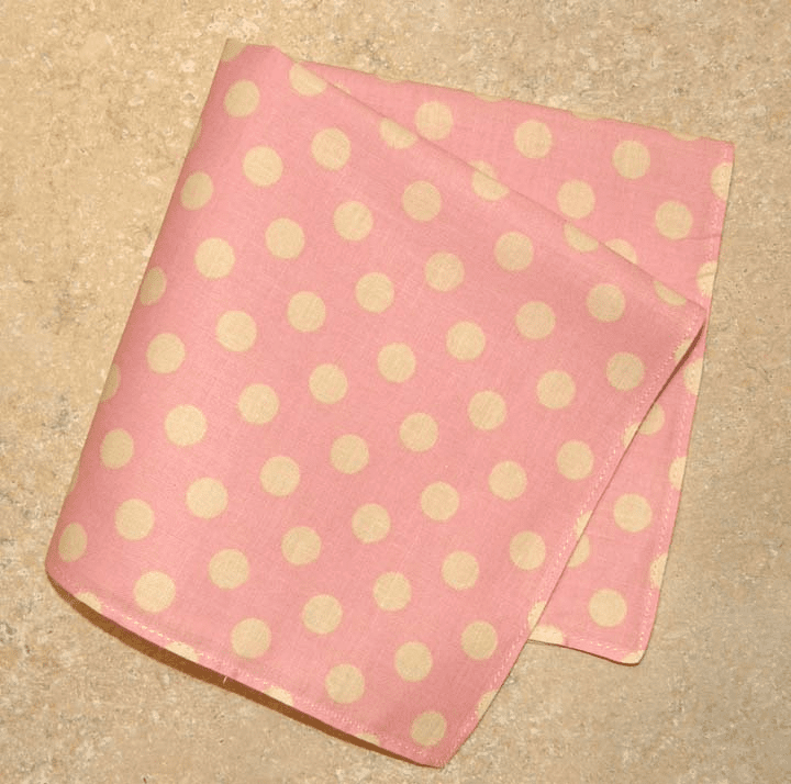 Super Cute Polka-Dotted 100% Cotton Ladies Handkerchief  Light Medium Pink
