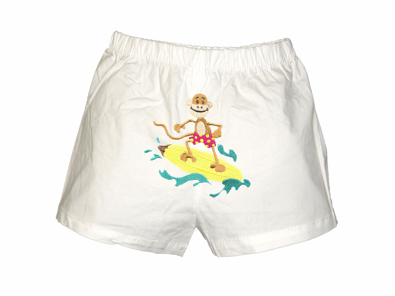 Surfer Monkey Personalized Baby Infant Boxers White
