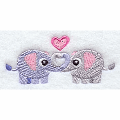 Sweet Elephants Handkerchief Embroidery Design hank9