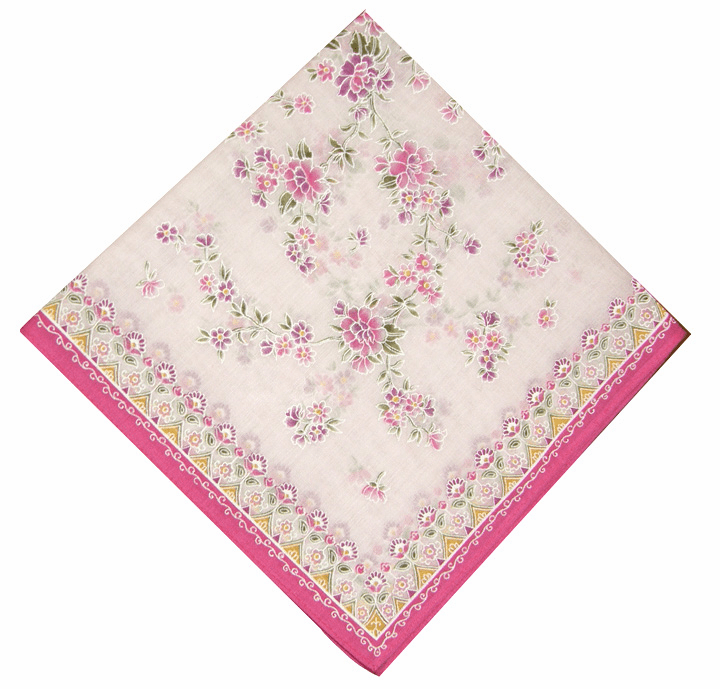 Sweet Tiny Floral Pattern 100% Cotton Printed Pink Handkerchief