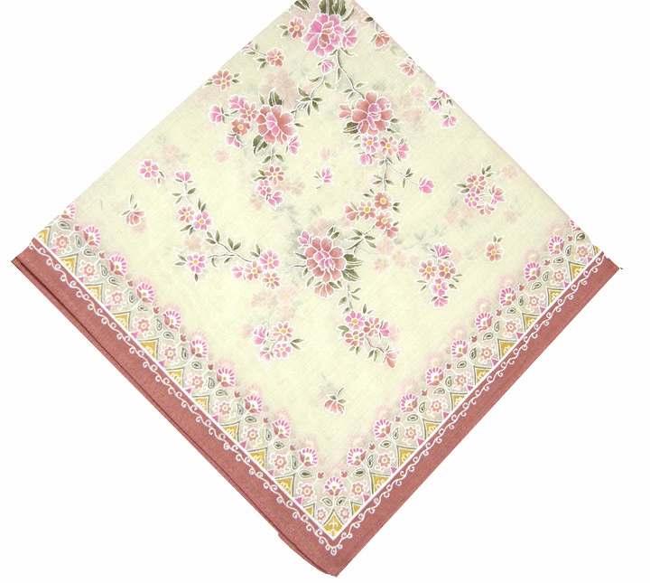 Sweet Tiny Floral Pattern 100% Cotton Printed Yellow Handkerchief