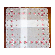 Swiss Embroidered Rose Handkerchief Four Corner White Cotton
