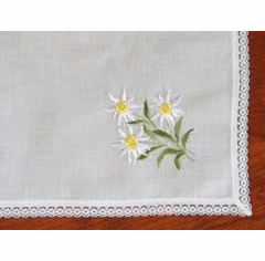 Swiss Embroidered Yellow Daisy Handkerchief with Lace Trim