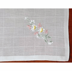 Swiss Floral Daisy Embroidered White Handkerchief