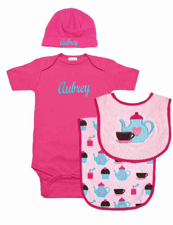 Tea Time Set Baby Girl Personalized Onezee, Bib, Burp Cloth & Hat Set