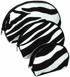 Nesting Three Zebra Black Trim Cosmetic Makeup Bags