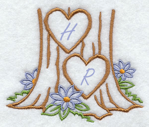 Tree Carving Embroidery Handkerchief Design hank28
