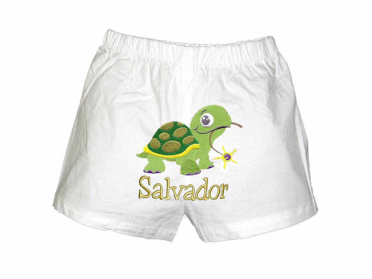 Turtle Personalized Baby Infant Boxers White