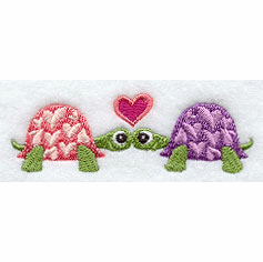 Turtles in Love Handkerchief Embroidery Design hank10
