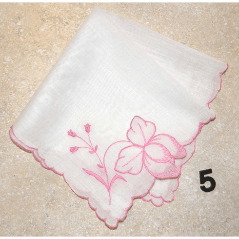 Vintage Handkerchief Cotton White with Medium Pink Floral Embroidery #5