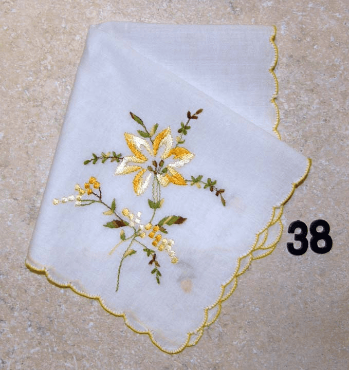 Vintage Handkerchief Cotton White Yellow Scalloped Edges Stunning Yellow Floral Design #38