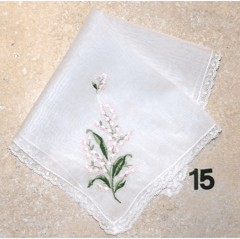 Vintage Handkerchief Delicate Cotton White with Pink Embroidered Flowers #15