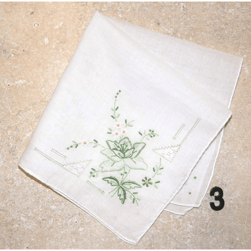 Vintage Handkerchief Embroidered White w/ Shades of Green & White Daisy Flowers #3