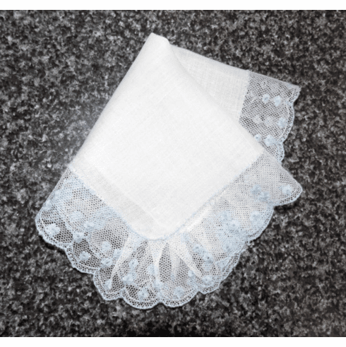 Vintage Handkerchief Wedding White Cotton with Beautiful Blue Floral Net Lace Dainty HA1005