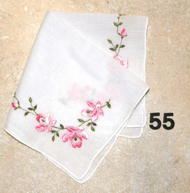 Vintage Handkerchief White Cotton Beautiful Large Pink Rose Embroidered Floral Design #55