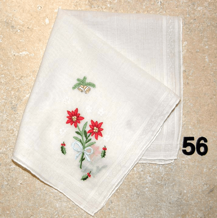 Vintage Handkerchief White Cotton Christmas Four Corner Floral Design Rolled Hem #56