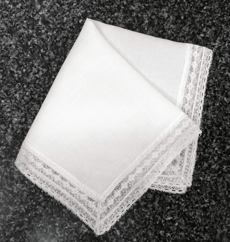 Vintage Handkerchief White Cotton Double Lace Wedding Design #HAN028