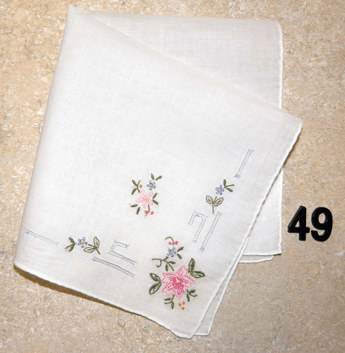 Vintage Handkerchief White Cotton Hand Embroidered Rolled Hem Asian Inspired Floral Design #49