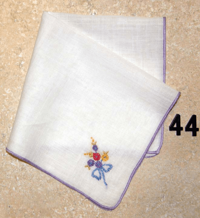 Vintage Handkerchief White Cotton Hand Satin Stitched Edge Small Cute Floral Design #44