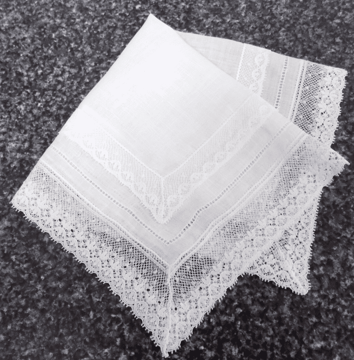 Vintage Handkerchief White Cotton Lace and Hemstitching Embellishment #HAN044