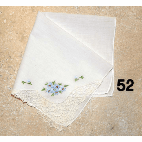 Vintage Handkerchief White Cotton Lace Corner Hand Embroidered Light Blue Floral Design #52