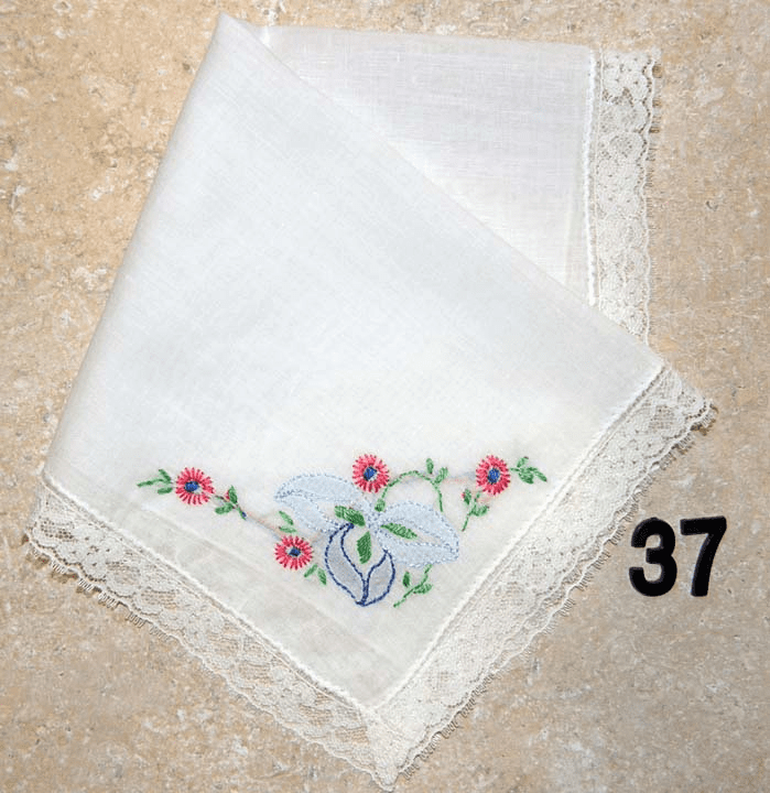 Vintage Handkerchief White Cotton Lace Edged Light Blue and Dark Pink Floral Design #37