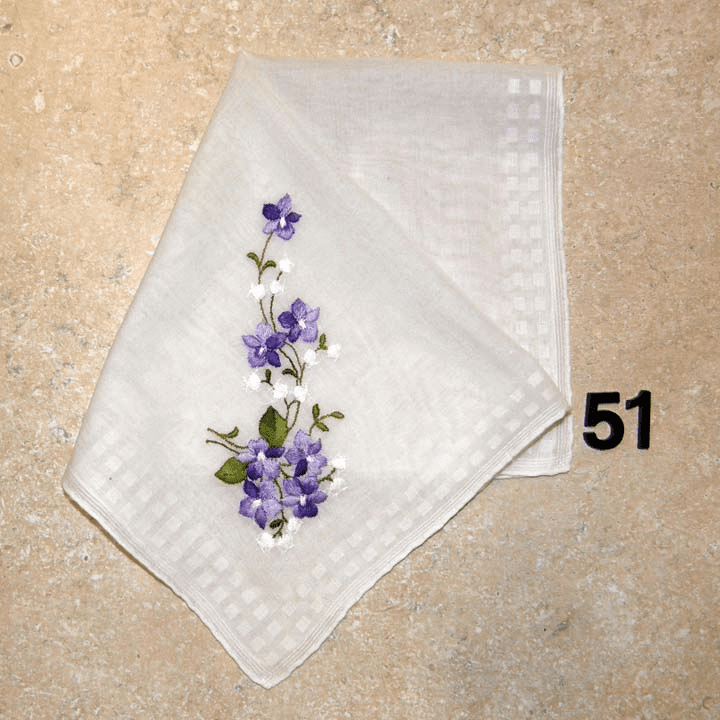Vintage Handkerchief White Cotton Purple & White Floral Design #51