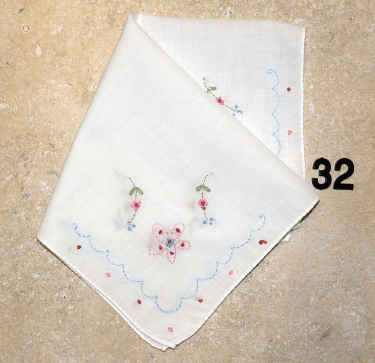 Vintage Handkerchief White Cotton Rolled Hem Hand Embroidered Four Corner Design #32