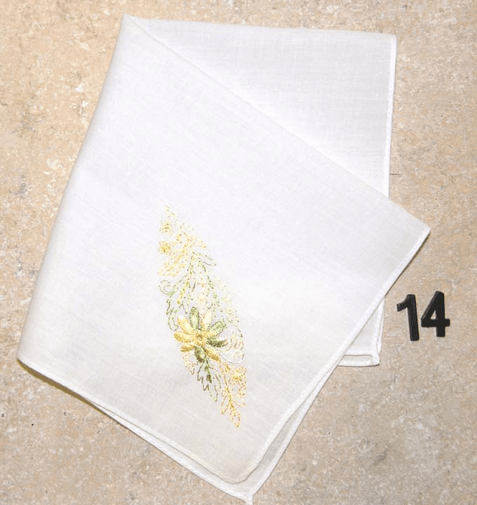 Vintage Handkerchief White Cotton Silk Embroidered Floral Design #14