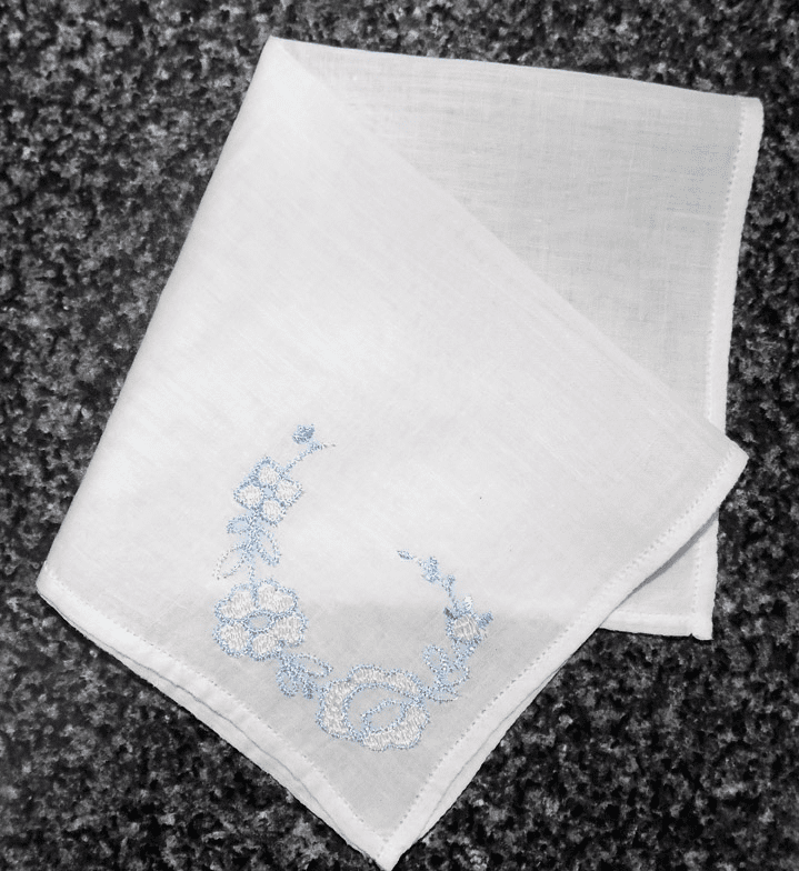 Vintage Handkerchief White Cotton Small Perfect For Flower Girl Blue Embroidered Floral Corner Design #HAN021