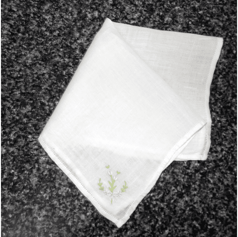 Vintage Handkerchief White Cotton Small Perfect For Flower Girl Blue Floral Corner Design #HAN017