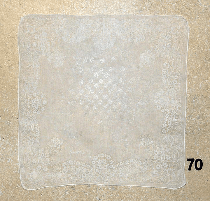 Vintage Handkerchief White Cotton Wedding Printed Design #70