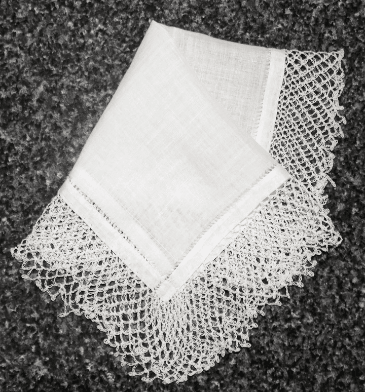 "Vintage Handkerchief White Cotton with Two"" Wide Knotted Crochet Lace #HAN023"