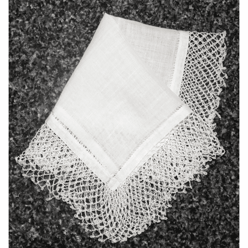 """Vintage Handkerchief White Cotton with Two"""" Wide Knotted Crochet Lace #HAN023"""