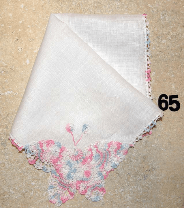 Vintage Handkerchief White Linen Beautiful Large Butterfly Crocheted Design #65