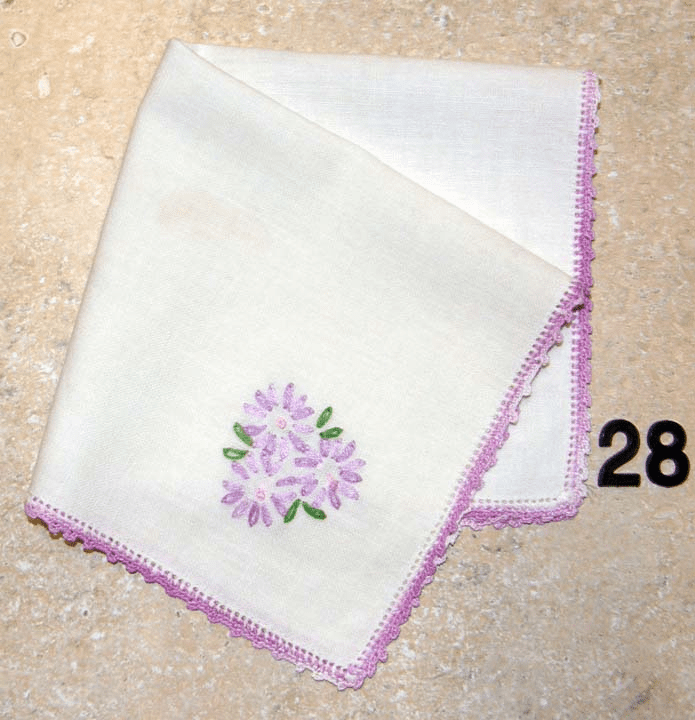 Vintage Handkerchief White Linen Crocheted Edge Hand Embroidered Purple Floral with Green Leaves Design #28