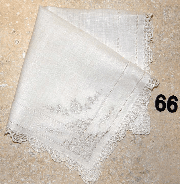 Vintage Handkerchief White Linen Four Corner Embroidery Lace Edges #66