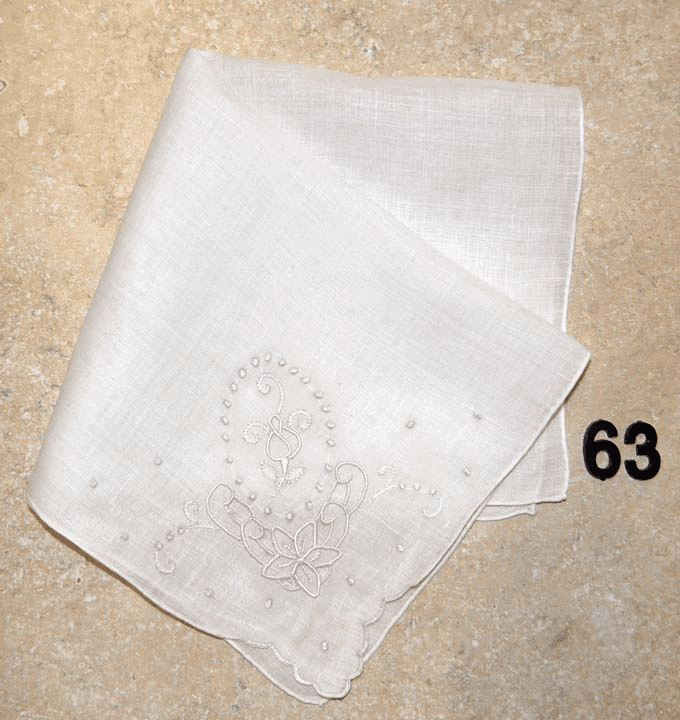 Vintage Handkerchief White Linen Four Corner Embroidery White on White #63