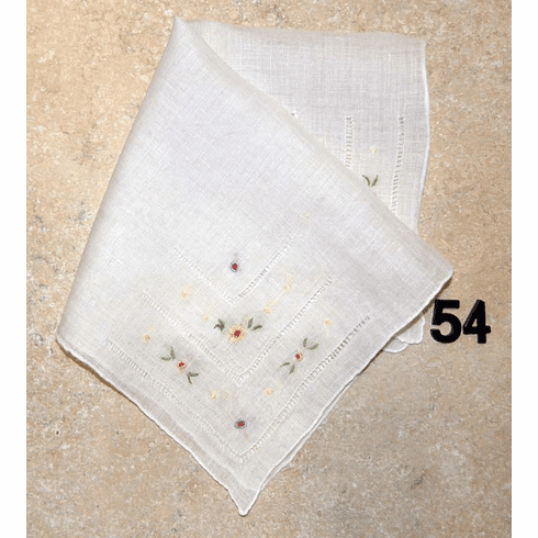 Vintage Handkerchief White Linen Four Corner Hand Embroidered Delicate Floral Design #54