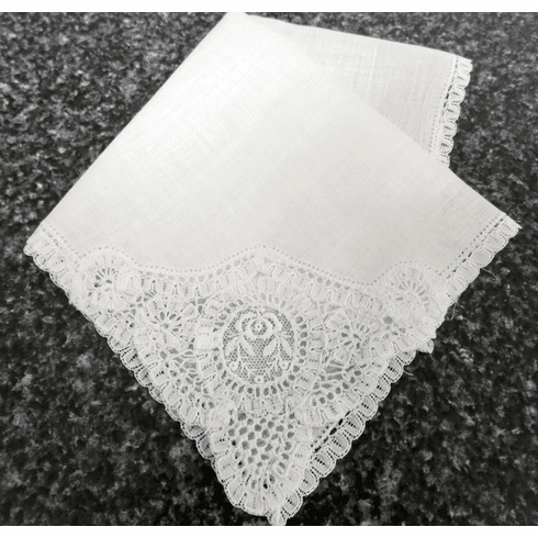 Vintage Handkerchief White Linen French Lace & Lovely Rose Embroidered Embellishment #HAN045