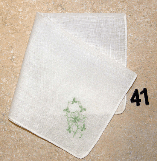 Vintage Handkerchief White Linen Green Shamrock Embroidered Design #41