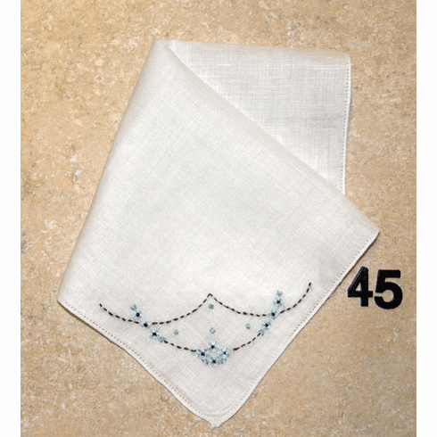 Vintage Handkerchief White Linen Hand Embroidered Hemstitched Blue & Black Floral Design #45