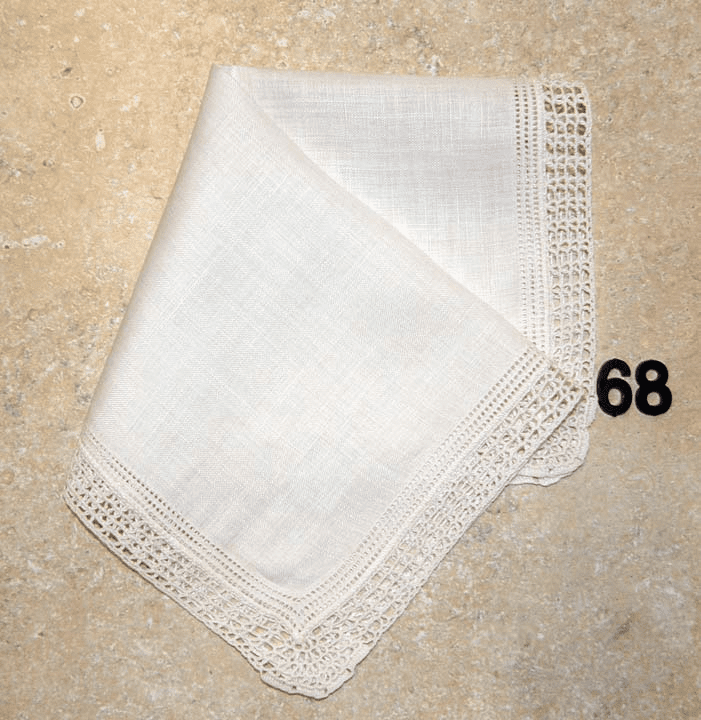 Vintage Handkerchief White Linen Hemstitched and Crocheted Lace Edges #68